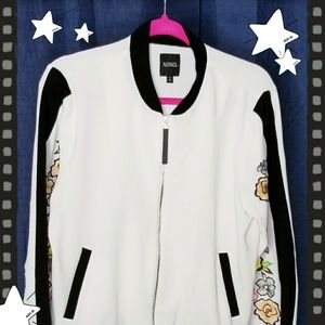 Floral Embroidered Sleeve Jacket